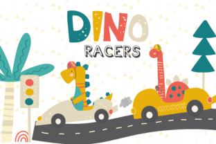 Print on Demand: Dino Racers Clipart Graphic Illustrations By poppymoondesign