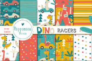 Print on Demand: Dino Racers Paper Set Graphic Patterns By poppymoondesign
