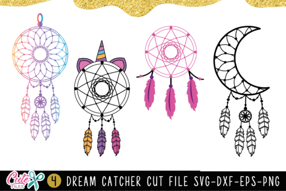Dream Catcher Set of 4   Graphic Illustrations By Cute files