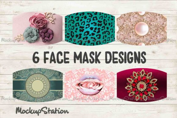 Print on Demand: Face Mask Design for Girls and Women Gráfico Moldes Por Mockup Station
