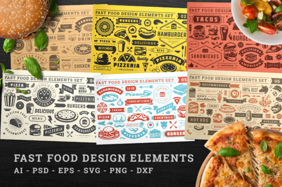 Fast Food Design Elements Graphic Objects By vasyako1984