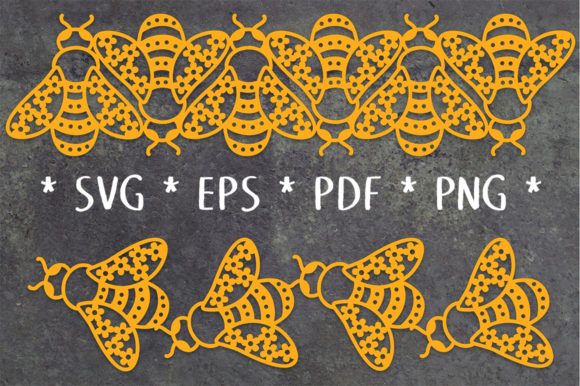 Print on Demand: Floral Bee Repeating Borders SVG Cut Graphic Crafts By Nic Squirrell
