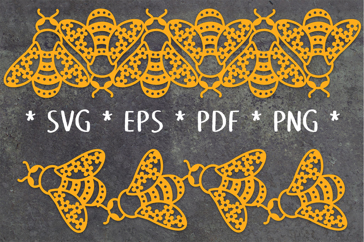 Floral Bee Repeating Borders SVG File