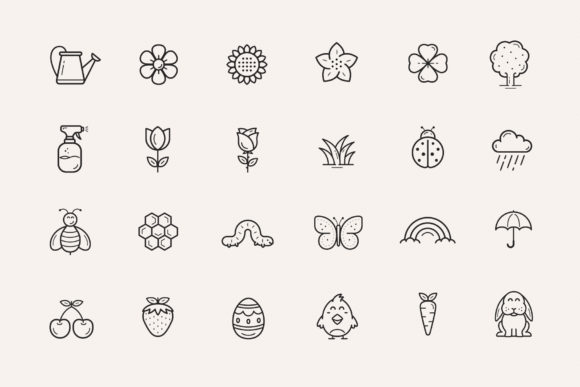 Print on Demand: Flowers and Spring Icons Graphic Icons By sargatal