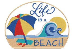 Print on Demand: Funny Summer Quote, Play on Words Beach & Nautical Embroidery Design By Embroidery Shelter