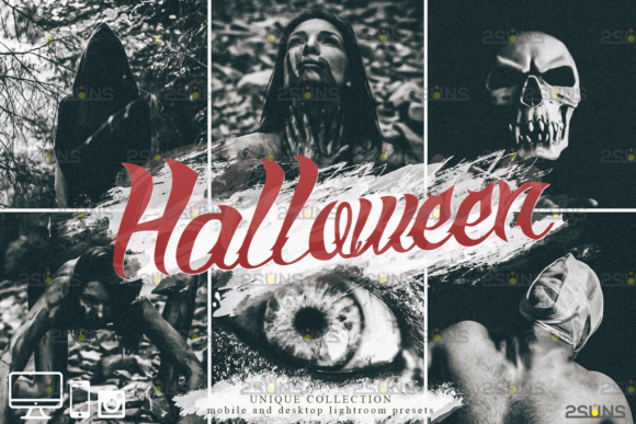 Halloween Presets: Black&White Lightroom Graphic Actions & Presets By 2SUNS