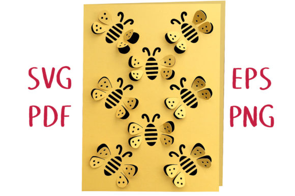 Print on Demand: Honeybee 3D Card   Graphic 3D SVG By Nic Squirrell - Image 1