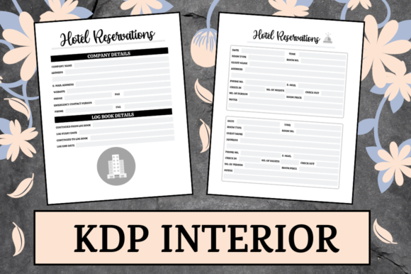 Print on Demand: Hotel Reservation Book | KDP Interior Graphic KDP Interiors By Hungry Puppy Studio