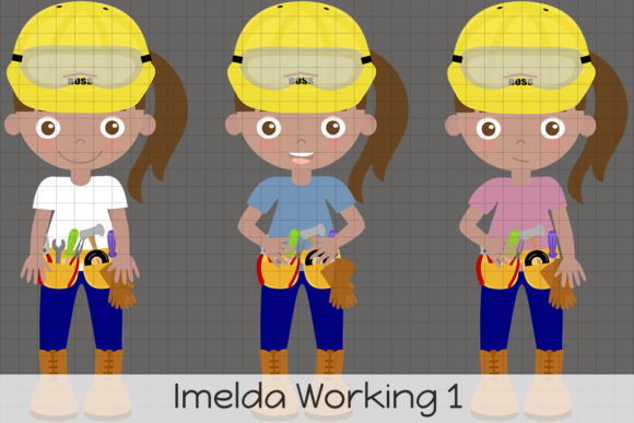 Imelda Working 1 Graphic Illustrations By Dolls To Go