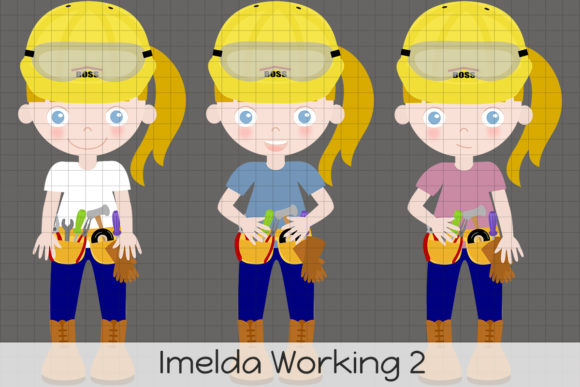 Imelda Working 2 Graphic Illustrations By Dolls To Go