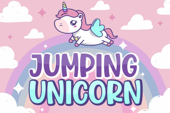 Print on Demand: Jumping Unicorn Display Font By Subectype - Image 1