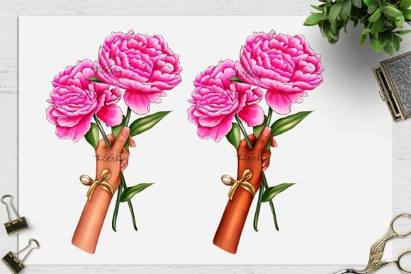 Print on Demand: Peonies Clipart Set Graphic Illustrations By TheGGShop - Image 3