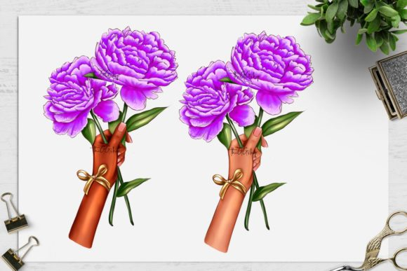 Print on Demand: Peonies Clipart Set Graphic Illustrations By TheGGShop - Image 4