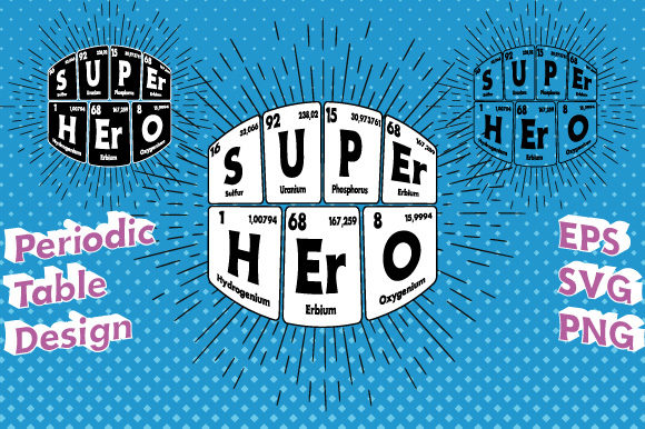 Print on Demand: Periodic Table Super Hero Vector   Graphic Illustrations By GraphicsFarm