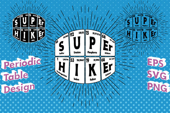 Print on Demand: Periodic Table Super Hiker Vector Graphic Illustrations By GraphicsFarm