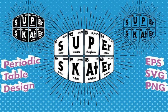 Print on Demand: Periodic Table Super Skater Vector   Graphic Illustrations By GraphicsFarm