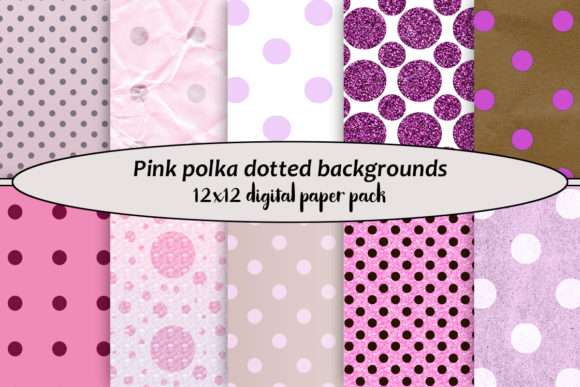 Print on Demand: Pink Polka Dotted Backgrounds Graphic Backgrounds By A Design in Time
