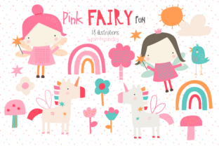 Print on Demand: Pink Fairy Fun Clipart Graphic Illustrations By poppymoondesign