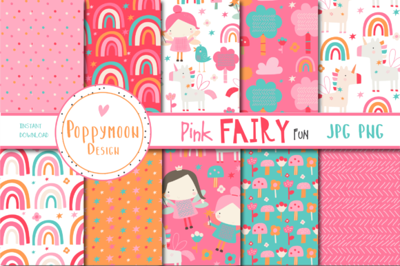Print on Demand: Pink Fairy Fun Paper Grafik Muster von poppymoondesign