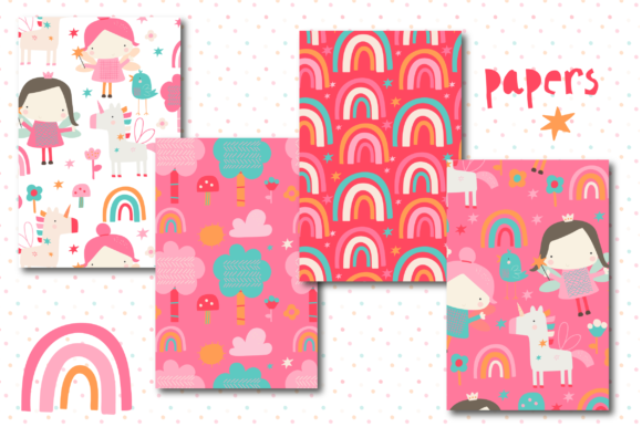 Print on Demand: Pink Fairy Fun Paper Graphic Patterns By poppymoondesign - Image 2