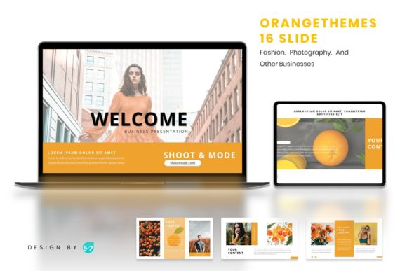 Powerpoint Template - Orange Themes Graphic Presentation Templates By maju57creative