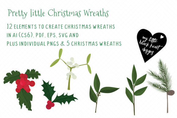 Pretty Little Christmas Wreaths Kit Graphic Illustrations By My Little Black Heart