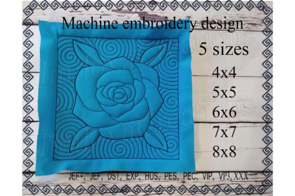 Quilt Block - Rose Sewing & Crafts Embroidery Design By ImilovaCreations - Image 1