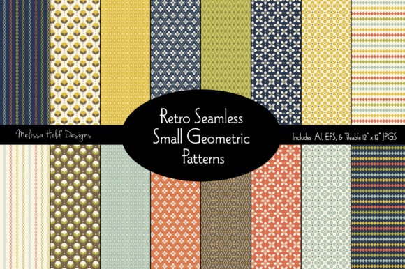 Retro Seamless Small Geometric Patterns Graphic Patterns By Melissa Held Designs