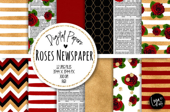 Print on Demand: Roses Newspaper Digital Paper Set Graphic Backgrounds By loyaarts