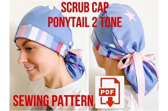 Scrub Cap Ponytail Style 4 Double Tone Graphic Sewing Patterns By Cotton Miracle Studio