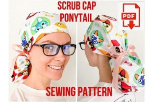 Scrub Cap Style 4 Ponytail Pattern Graphic Sewing Patterns By Cotton Miracle Studio