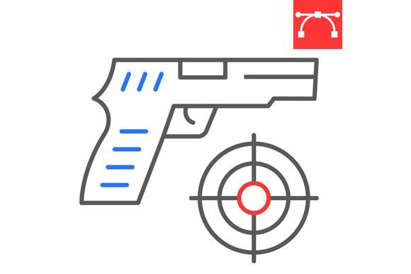 Shooter Game Color Line Icon Graphic Icons By amin.yusifov