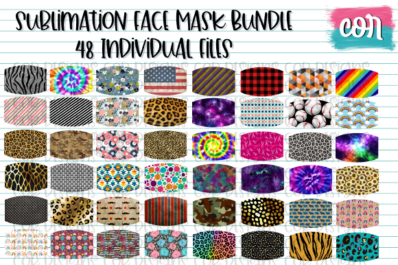 Print on Demand: Sublimation Face Mask Bundle Grafik Plotterdateien von designscor