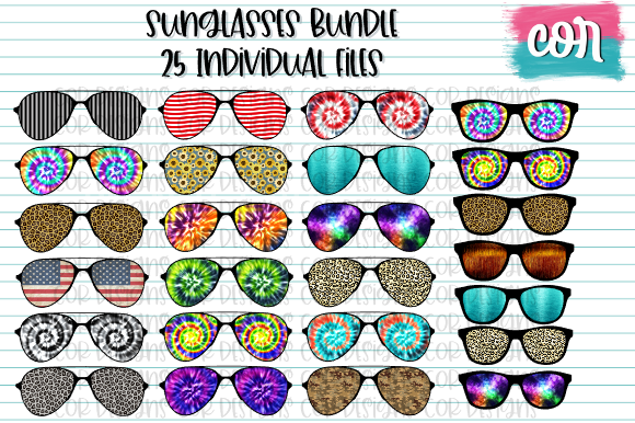 Print on Demand: Sunglasses Bundle Gráfico Crafts Por designscor