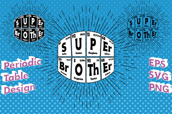 Print on Demand: Super Brother Periodic Table Vector Graphic Illustrations By GraphicsFarm