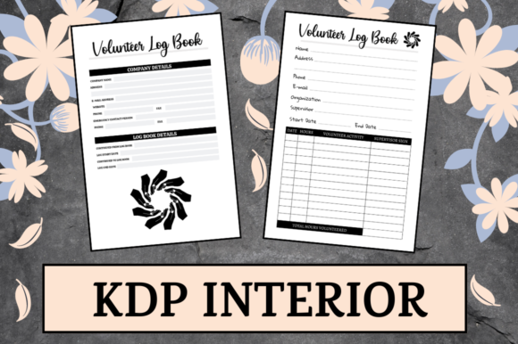 Print on Demand: Volunteer Log Book | KDP Interior Graphic KDP Interiors By Hungry Puppy Studio