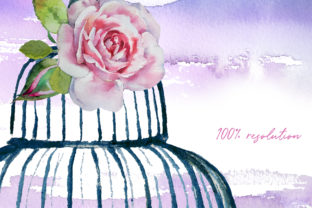 Watercolor Cages and Flowers Designs Graphic Illustrations By artcreationsdesign 2