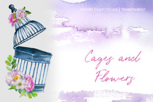 Watercolor Cages and Flowers Designs Graphic Illustrations By artcreationsdesign 3