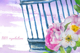Watercolor Cages and Flowers Designs Graphic Illustrations By artcreationsdesign 4