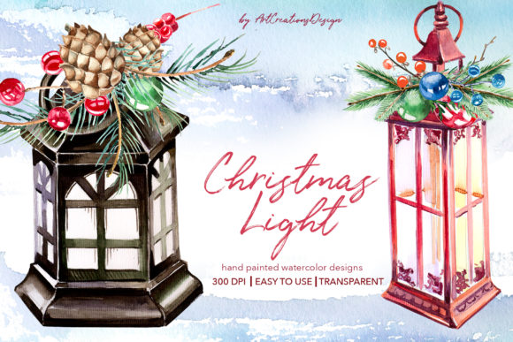 Watercolor Christmas Lights Designs Graphic Illustrations By artcreationsdesign