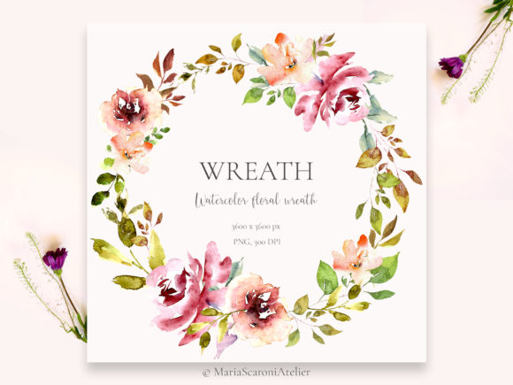 Print on Demand: Watercolor Floral Wreath Graphic Illustrations By MariaScaroniAtelier