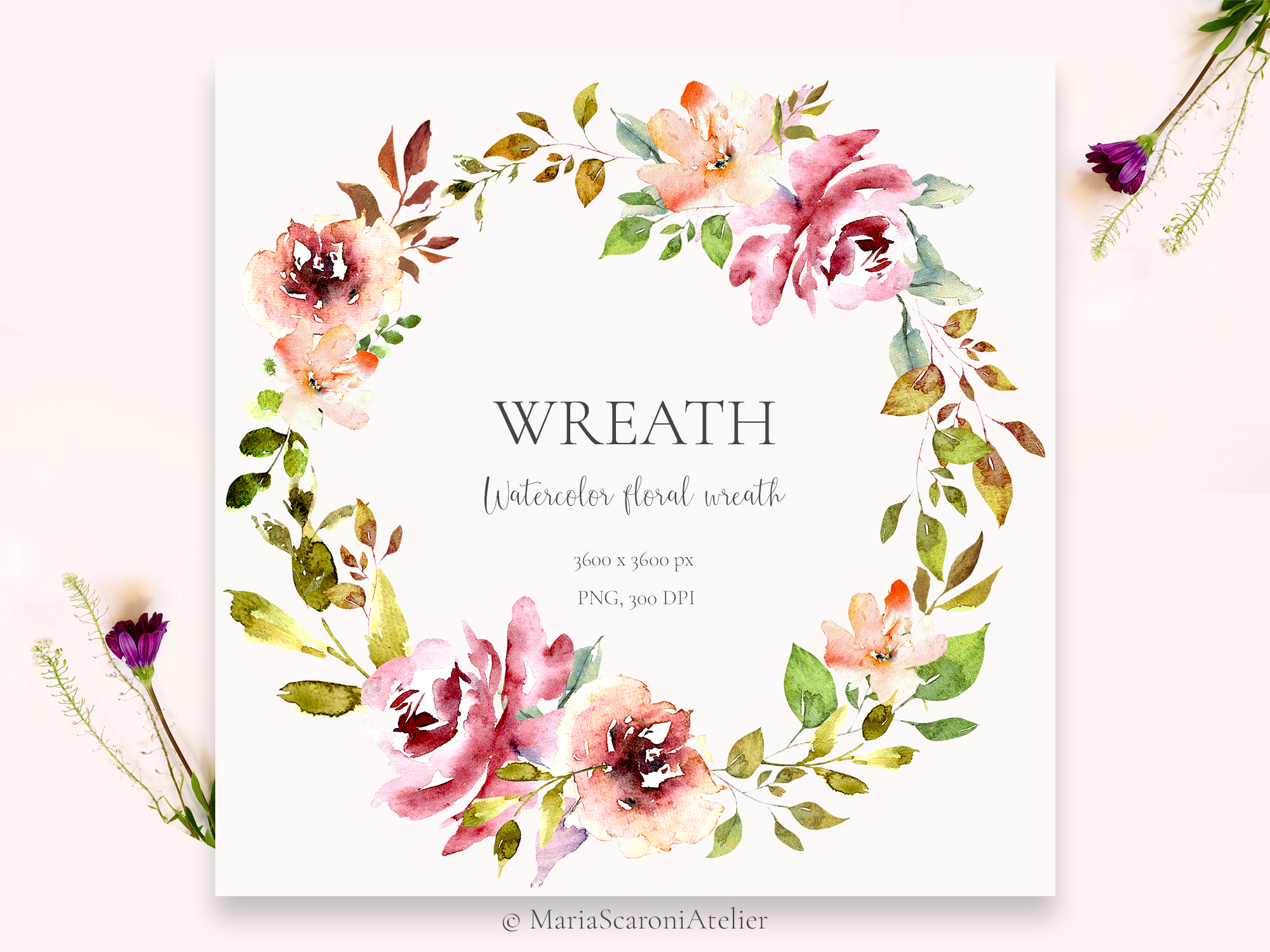 Watercolor Floral Wreath Graphic By Mariascaroniatelier Creative Fabrica