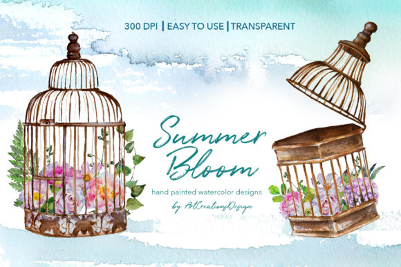 Watercolor Summer Bloom Designs Graphic Illustrations By artcreationsdesign
