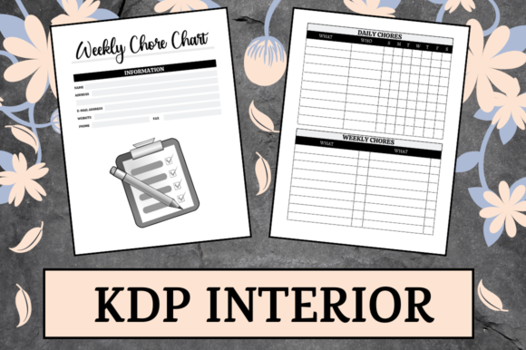 Print on Demand: Weekly Chore Chart | KDP Interior Grafik KPD Innenseiten von Hungry Puppy Studio