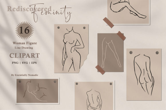 Woman Nude Line Drawing Clipart Graphic Illustrations By EssentiallyNomadic