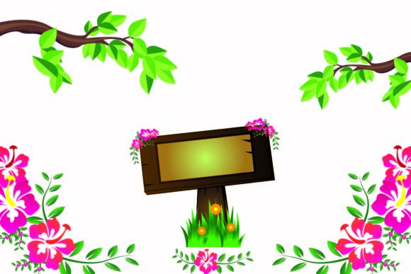 Wooden Banners with Floral Backgrounds Graphic Illustrations By garnetastudio