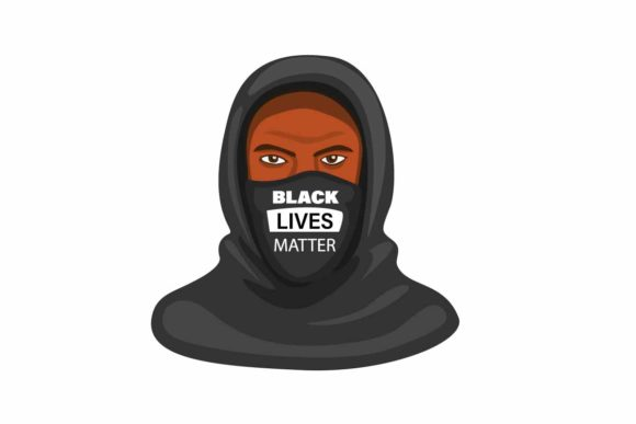 Print on Demand: Black Lives Matter Mask Hoodie Vector Graphic Illustrations By aryo.hadi