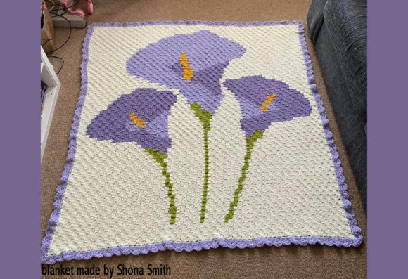 Calla Lilly C2c Throw Pattern Graphic Crochet Patterns By Katrina Oldham