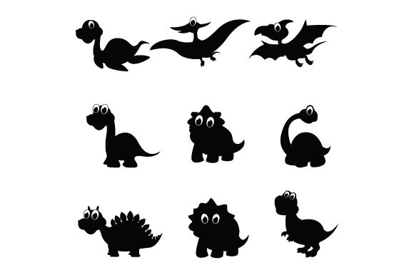Print on Demand: Cute Dinosaur Silhouette Graphic Illustrations By curutdesign
