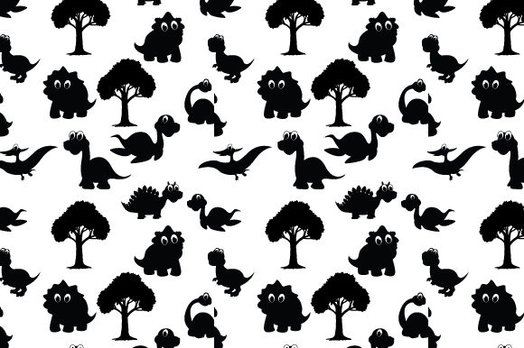 Print on Demand: Cute Dinosaur Silhouette Pattern Graphic Patterns By curutdesign